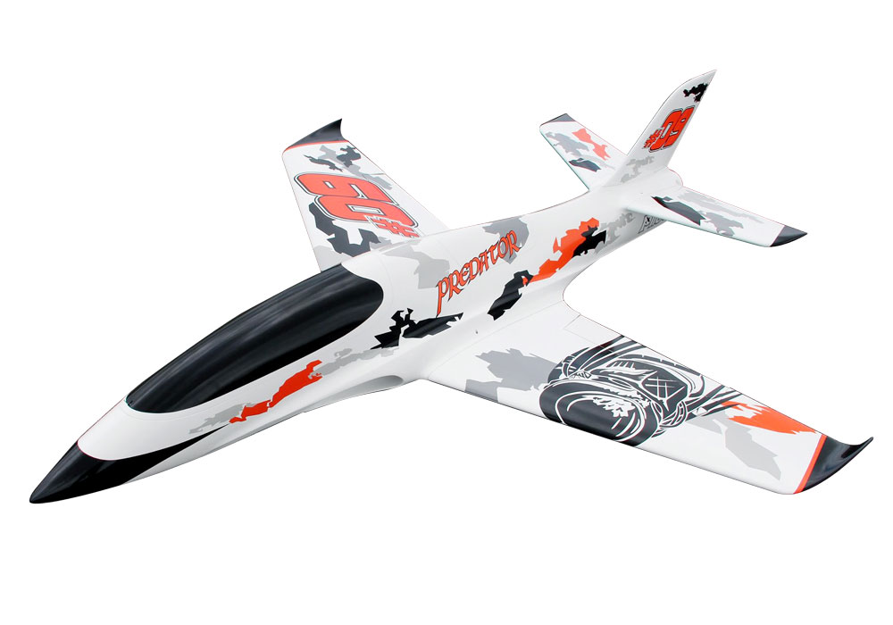 Pilot-RC Predator 1.8m Composite Jet - White/Orange/Black (Scheme 01)