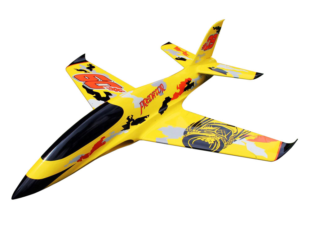 Pilot-RC Predator 2.2m Composite Jet - Yellow/Orange/Black (Scheme 04)