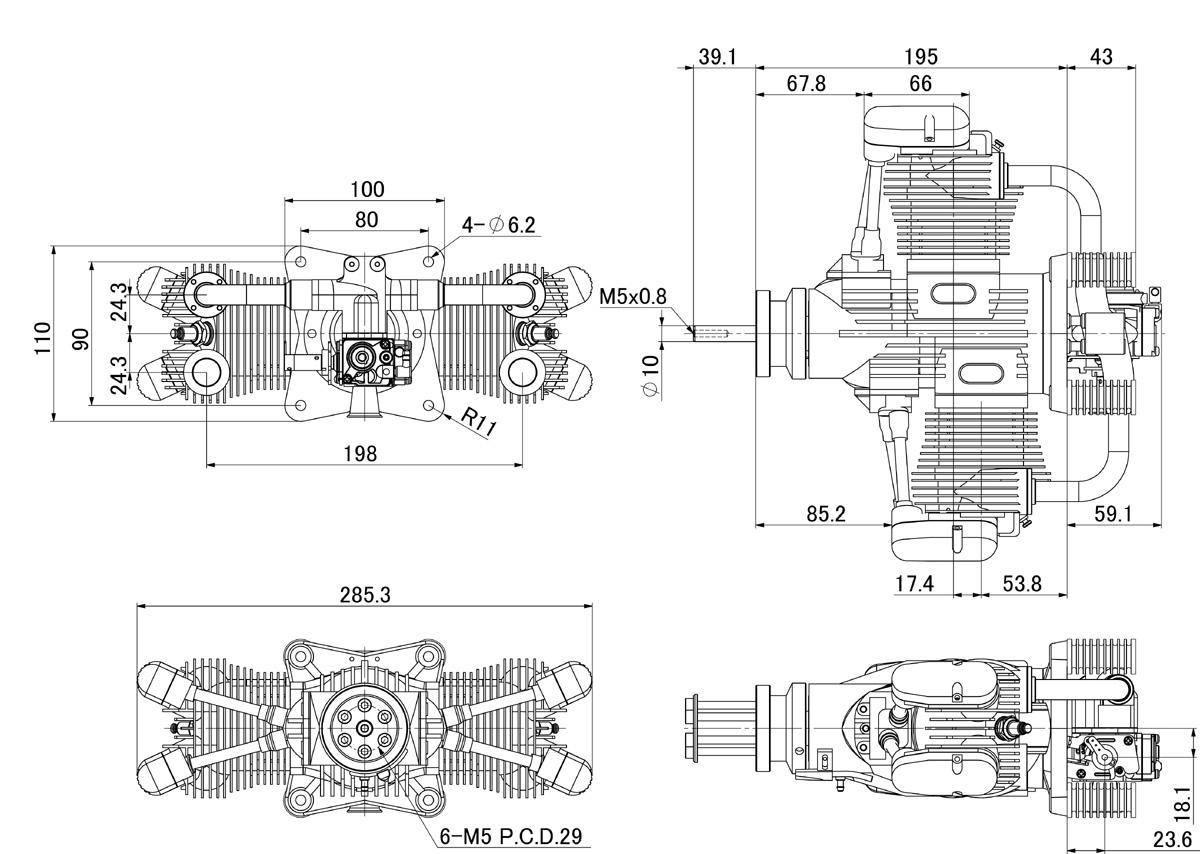 Saito FG-100TS (100cc) Twin 4-Stroke Petrol Engine larger image