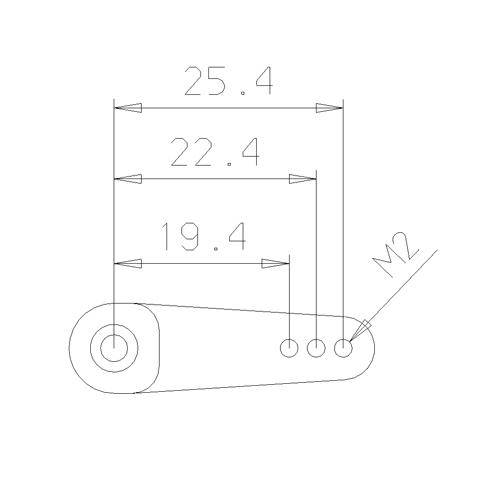 1.0inch M2 servo arm drawing