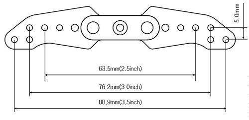3.5 Inch Offset Full Aluminium Servo Arm dimension drawing