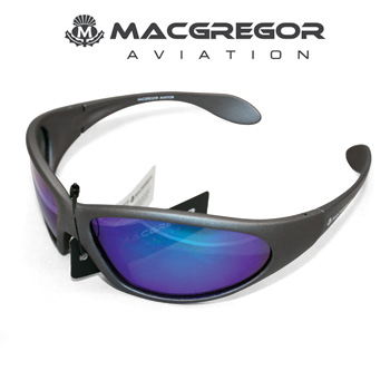 MacGregor Aviation Polarised Sunglasses Grey with Blue Lens