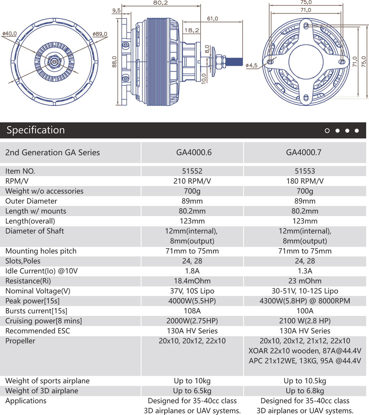 GA4000 Specifications