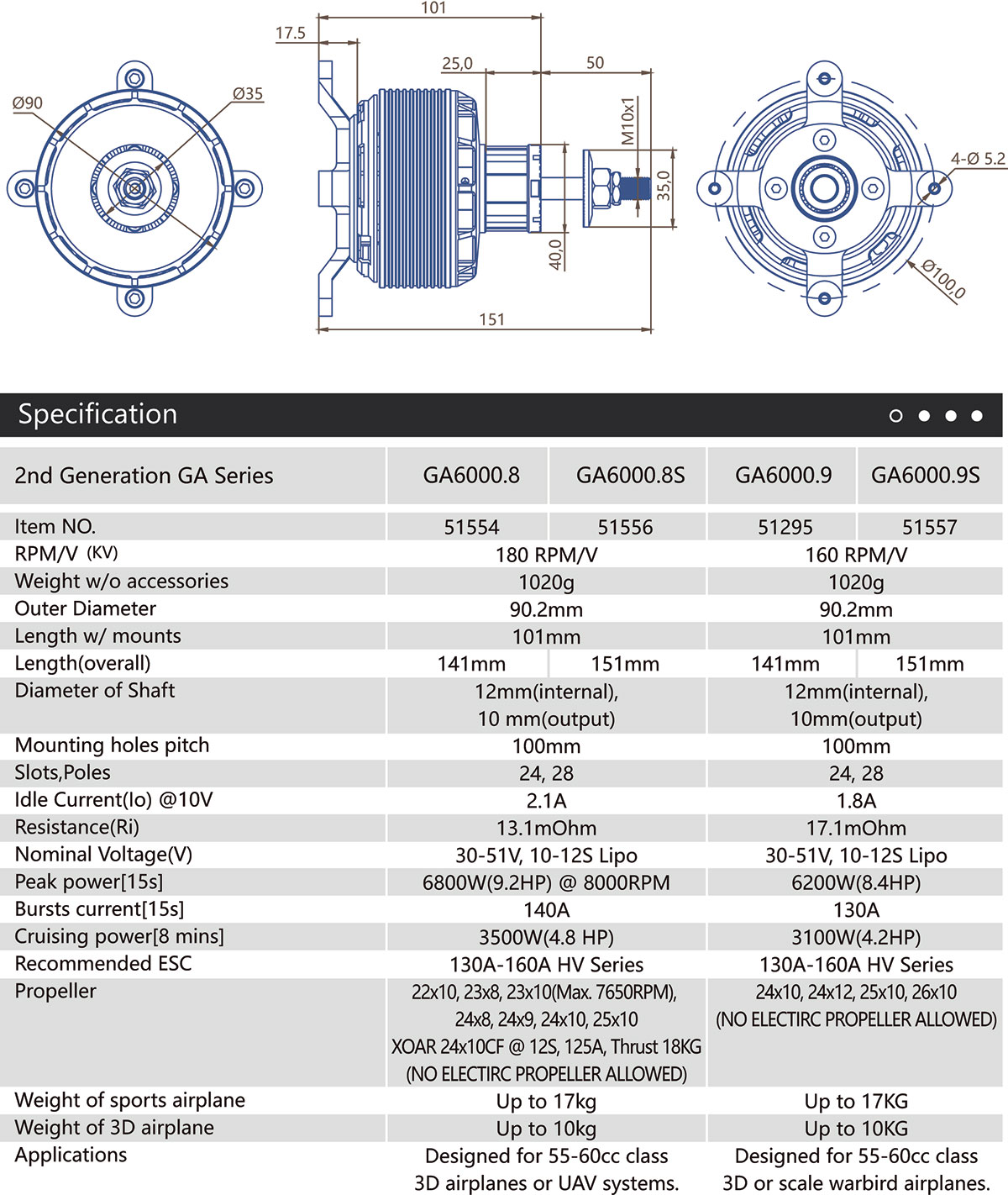 GA6000S Specifications