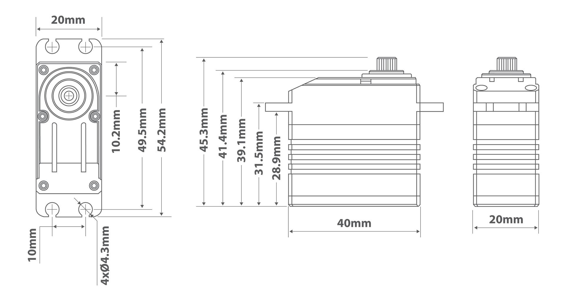 MGB8555HV Servo Drawing