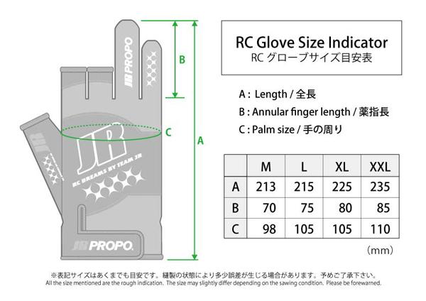 JR Glove size chart