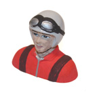 Painted Civilian Pilot Bust for .46 Size P-51 Dago Red/Voodoo