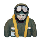 Painted WWII Pilot Bust (FW-190A) for .46 Size